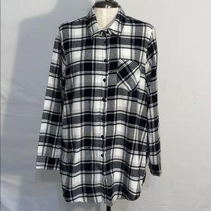Free Press Buffalo Plaid Flannel Pajama Top - Sz L
